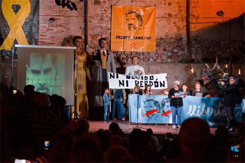 Mobilització a Santa Perpètua amb motiu del primer any del perpetuenc Jordi Cuixart a la presó