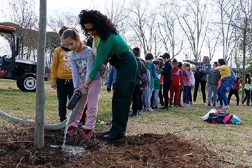 L'alumnat de Primària celebra el Dia de l'Arbre i planta catorze exemplars