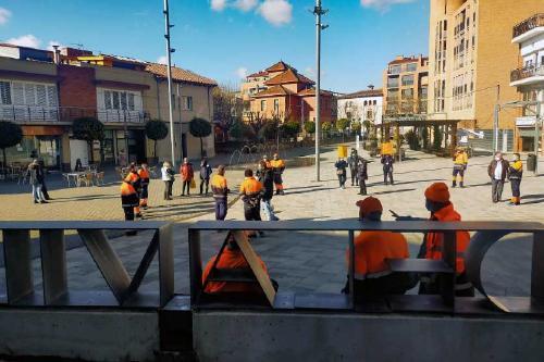 Protesta dels treballadors de Mogoda Serveis per l'acomiadament disciplinari d'un company